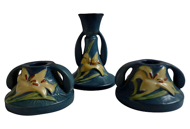 Roseville Zephyr Lily Set Of Three Candleholders Billy Blue Eye
