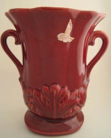 "Red Wing Pottery, c.1950's 7.75"" Loop Handled Vase with Acanthus Leaves & original label, mold # 1357,  $75.00"
