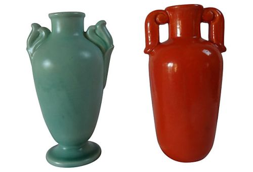 "Stangl Pottery, c.1937-39 5.5"" Satin Green Footed Bud Vase w/ Winged Handles and c.1937 5.75"" Tangerine Amphora Vase w/ Scroll Handles, List Price for Pair, $165.00, Super Special Price $100.00"