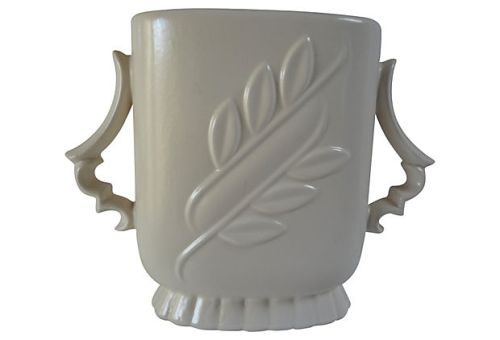 "Red Wing Pottery, c.1940's, 7"" Leaf Embossed Vase Semi-matte White Exterior & Green Interior, Mold #1174. List Price $89.00, Super Special Price $65.00"