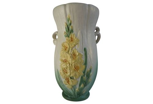 "Weller Pottery, c.1934-39 ""Roba"" 13"" Floral Vase (Gladiola) w/ Ribbon Handles, Item # R-20, List Price $385.00 Today's Special Price $250.00"
