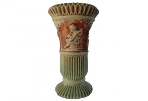 "Roseville Pottery, c. 1915-18, ""Donatello"" 8.25"" Footed Vase w/ Flared Lip, List Price $225.00, Super Special Price $135.00"
