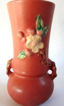 "Roseville Pottery, c.1948 ""Apple Blossom"" 6.25"" Bud Vase"