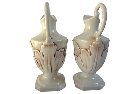 "Rum Rill for Red Wing Pottery, c.1932-37,  Pair of 10.25"" Ewers w/ Embossed Acanthus Leaves, Mold #448, Back side and View of Handles"