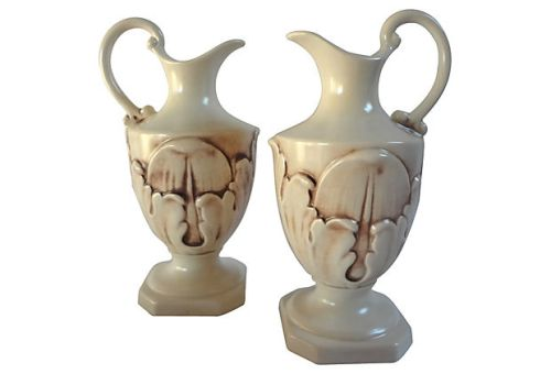 "Rum Rill for Red Wing Pottery, c.1932-37, Pair of  10.25"" Ewers w/ Embossed Acanthus Leaves in Pompeian Glaze, Mold #448, List Price $225.00, Holiday Price $200.00 for the Pair"