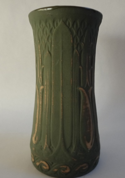 "Monmouth Pottery, c.1925-30 Green 8"" ""dull finish"" Lotus Vase, $135.00"