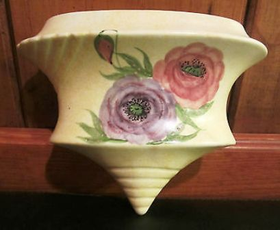 "E. Radford Pottery of England, c.1930's 5.5"" Handpainted Anemone & Leaves Wall Pocket Vase, $55.00"