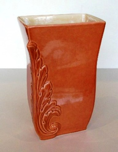 "Red Wing Pottery, c.1940's 8"" Vase with Embossed Acanthus leaves in coral & ivory, $109.00"