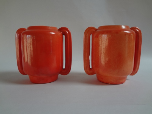 Pair of 1937 Tangerine Stangl Vases