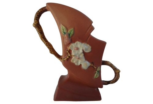 "Roseville Pottery, c. 1948, ""Apple Blossom"", Double Handled 7"" Vase in Terra Cotta, Offered at an Opening Bid of $64.99. Includes Free Shipping."